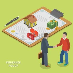 Vector Graphic Of Two Man Shaking Hands Insurance Policy At Renewal Concept