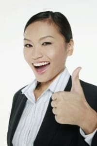 Businesswoman Workers Comp End Showing Thumbs Up