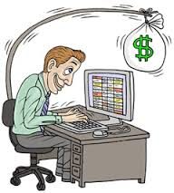 Graphic Of Man Working On Computer With Sack of Money On Top Payroll Audits Cover Concept