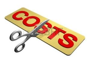 Graphic Of Scissor Cutting Costs Workers Compensation Costs Concept