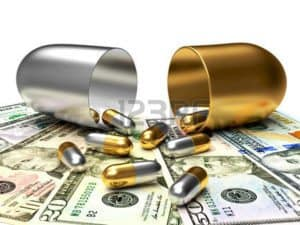 Graphic Of Silver And Golden Medicines And Money Medical Costs Per Concept