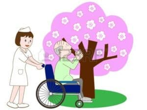 Graphic Of Nurse carrying Old man In Wheelchair Plant Nurses With Tree Background