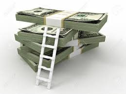 Picture of Small Ladder On Big Bundle Of Dollars Coverage Verification Concept