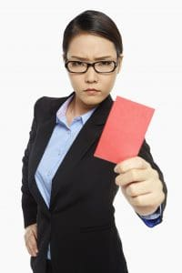 Picture Angry Businesswoman Short Rate Penalty Red Card