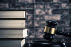 Books And Gavel Bid On Contracts Concept