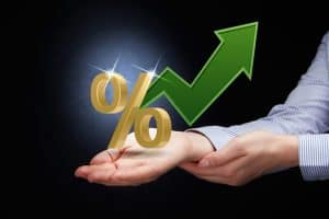 Hand Presenting E-Mod Calculation Percentage Arrow Increase