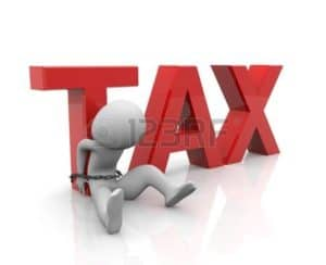 Emoticons Tight on Big Red TAX Letter Independent Contractor Tax Penalties Concept