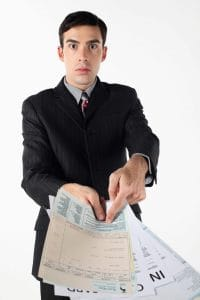 Man Independent Contractor Showing Tax Papers