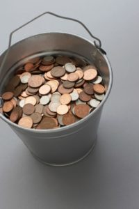 Picture Of Bucket Great Charity Full Of Coins