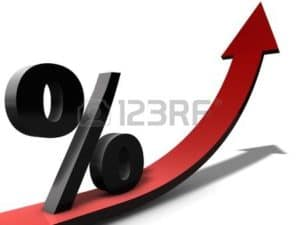 Graphics of Rate Increases Color Red Arrow and Black Percent