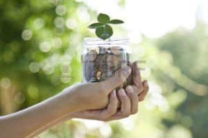 Picture of Hand Holding Jar Full Of Coins Self Insurers With Plant