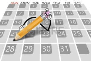 Graphic of Pencil on the Calendar Workers Comp Dates upcoming important
