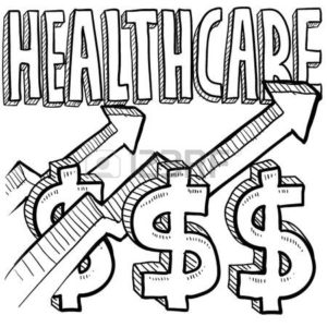 Drawing Of HealthCare With Dollar Sign And Arrow Workers Comp Program Obamacare