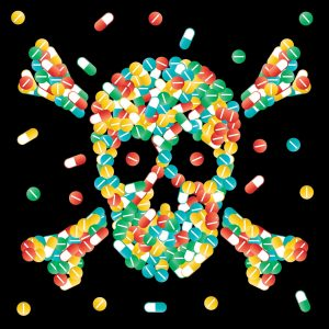 Graphic Skull Made Up Capsule Narcotics Pills