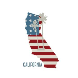 Map Of California New Policy With USA Flag Print With Coconut tree