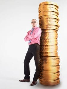 Man Standing Modified Self Insurance On Pile Of Coins Digital Composite