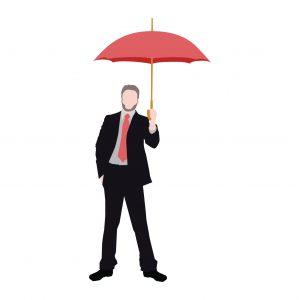 Graphic Businessman Holding Umbrella Multiple States Coverage