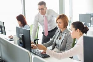 Picture Business People Working Handle Insurance in Office