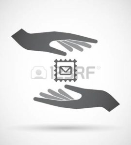 Vector Graphic of Two hands With Letter Icons Handle Insurance Mail And Claims