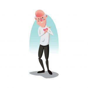 Graphic Old Man Insurance Mail Having Heartburn