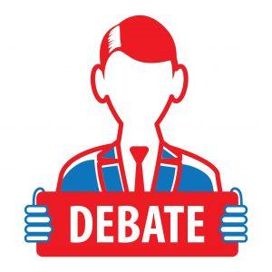 Graphic Split Point Debate Man Holding Placard