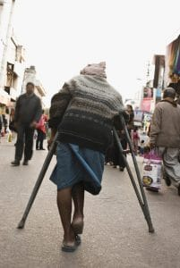 Picture Temporary Disability Period Man in Street Market