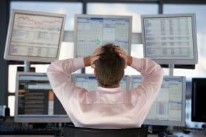 Picture Businessman Watching Computer Screens Large Loss Caps Back View