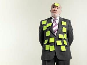 Picture Businessman Covered Sticky Notes Misclassification Confusion North Carolina