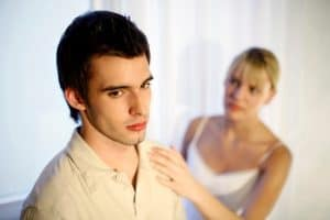 Picture Woman Consoling Her Troubled Husband Split Point Concern