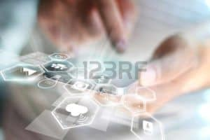 Picture of Human Hand Touch Screen Workers Comp Statistics Concept
