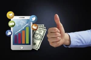 Thumbs Up Gesture 5% Rate Increase With Mobile Marketing Concept
