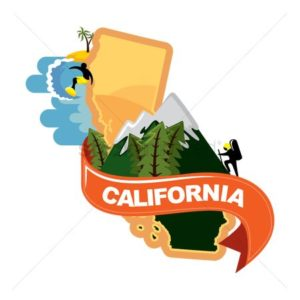 Map Graphic with Beach And Forest of California Loss Cost Multiplier