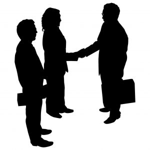 Graphic Businessman and Woman Shaking Hand Great Premium Deals Save Money