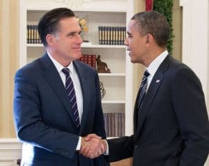 Shaking Hands Obama or Romney Picture