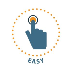 Graphic Of Hand Push Botton Workers Comp Claims spike Easy Text Icon