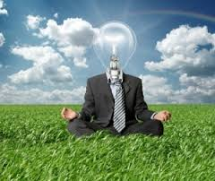 Picture Of Workers Compensation Innovation business man with bulb doing yoga