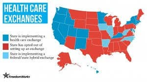 Federal State Health Exchanges Map Workers Comp
