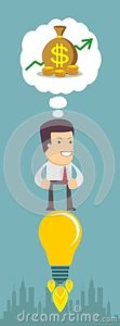 Graphic of Business Man on the top of bulb thinking Money Texas Workers Comp Report Progress and Savings