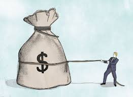 graphic of man pulling big sack of money Experience Mod Reduction Plans concept
