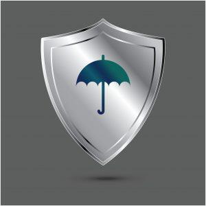 Silver Shield Sequestration With Umbrella Icon