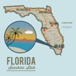 Graphic Of Map Florida Decision With Location Icon