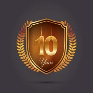 Badge of 10 Years Workers Comp Look Like