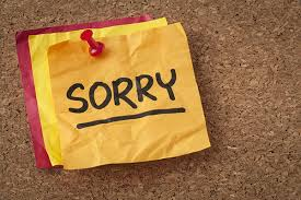 Note of apologies Sorry