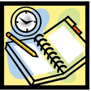 Clock and book Physician Fee Schedules illustration