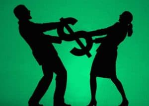 Man And Woman Shadow Insurance Holding Dollar Sign