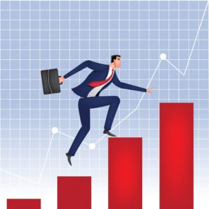 Vector Graphic Of Businessman Climbing PEO's On Bar Graph Increase