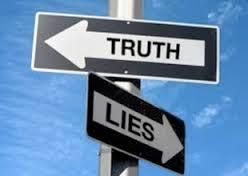 Street Sign Big Falsehoods Truth and Lies