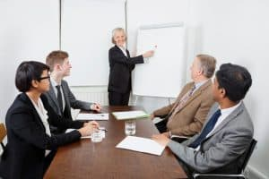 Picture Senior Woman Using Whiteboard in Business Meeting Accident Curve Risk Factor