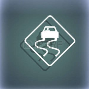 Slippery When Wet Accident Curve Car Sign