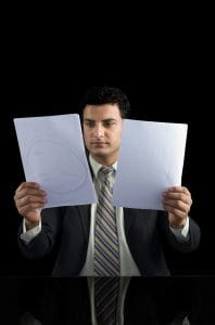 Picture Businessman Holding Two Documents Estimated Premium Audits By Employer